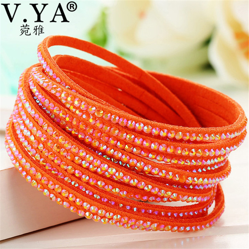 V.YA Fashion Colorful  Bohemian Wide Leather Friendship Wristband Accessories for Women' Men' Jewelry