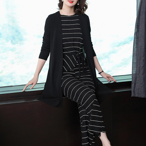 plus size 4xl woman suit knitted ensemble femme deux