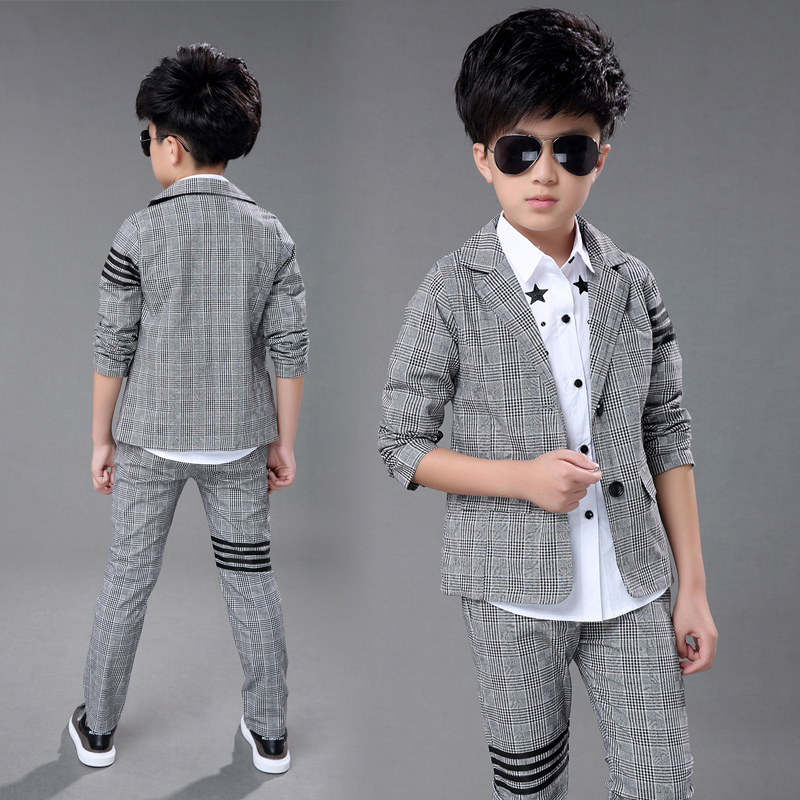 Boys Prom Suits Wedding Children Clothing Kids Boys Sets Boys Gentleman Suits Plaid Blazer +Pants 2pcs Boys Suits for Weddings одежда на маленьких мальчиков