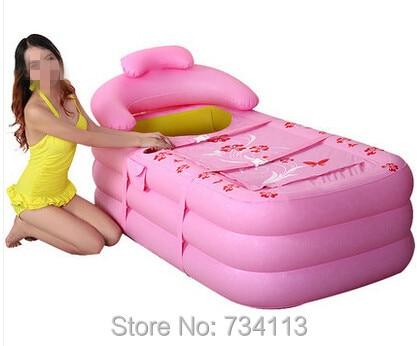 Inflatable bathtub Water beauty inflatable bathtub adult bathtub thickening plastic folding tub bath bucket For Adult Pink Green