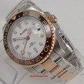 40mm bliger quadrante bianco rosa d'oro della cassa del cristallo di zaffiro GMT data finestra automatic mens watch 132