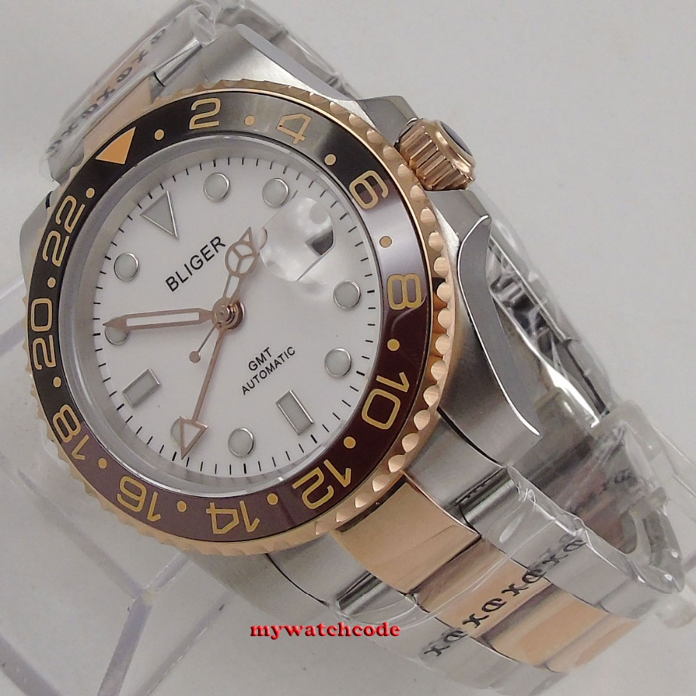 40mm bliger white dial rose golden case sapphire crystal GMT date window automatic mens watch 132 цена и фото