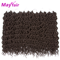 MAYFAIR 18inches 6pcs Deep Faux Locs Hair Braids 24strands/pack Faux Locs Curly Crochet Hair Soft Synthetic Braiding Hair