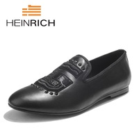 HEINRICH Luxury Men Shoes Black Leather Men's Casual Shoes Handmade Comfortable Breathable Spring Fashion Men Shoes Chaussures