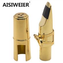 Saxofone de metal aisiweier, peça de boca profissional para sax aisiweier tenor soprano alto, peça de boca com laca dourada 56789