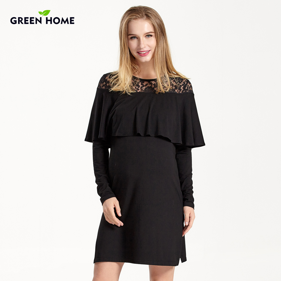 Green Home Long Sleeve Formal Maternity Dresses Breastfeeding Cover Pregnancy Clothing Casual Solid Clothes For Breastfeeding