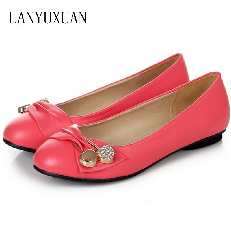 LANYUXUAN Large Size 34-47 Women Fashion Shoes Woman Flats Spring Shoes Female Ballet Metal Round Toe Solid Casual Shoes 08-2 memunia 2017 fashion flock spring autumn single shoes women flats shoes solid pointed toe college style big size 34 47