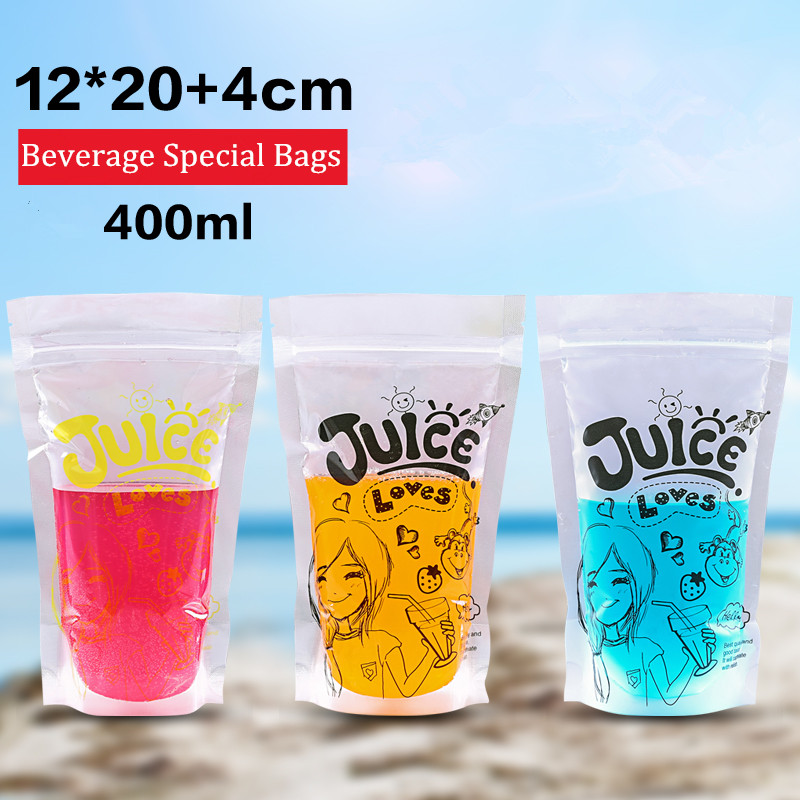 Color Beverage Bags Transpa Self Styled Liquid 12 20 Ziplock Juice Drinks Beverages Pattern Bag Frosted 300 400ml In Water Bottles From Home Garden