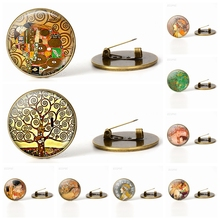 Retro Klimts Mother and Child Art Bronze Brooch Glass Dome Handcrafted Jewelry Klimt Accessories Brooches Days Gift