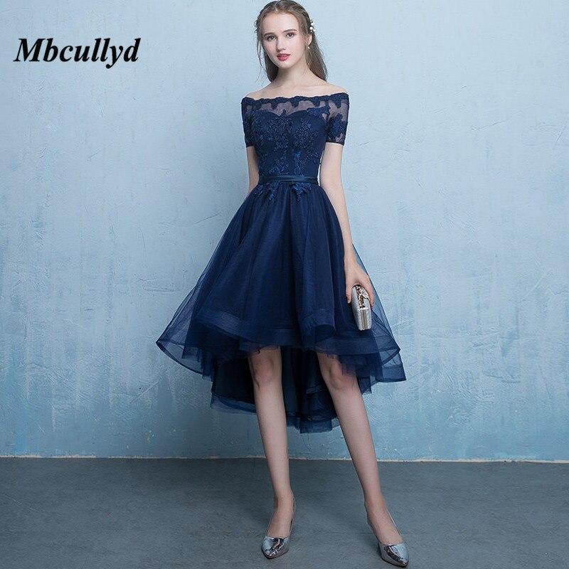 Mbcullyd Sheer Scoop Cou Salut-Bas Robes de mariée 2018 Marine Bleu Robe Pour la Fête De Mariage Pour Femme De Mariage D'hôtes robe