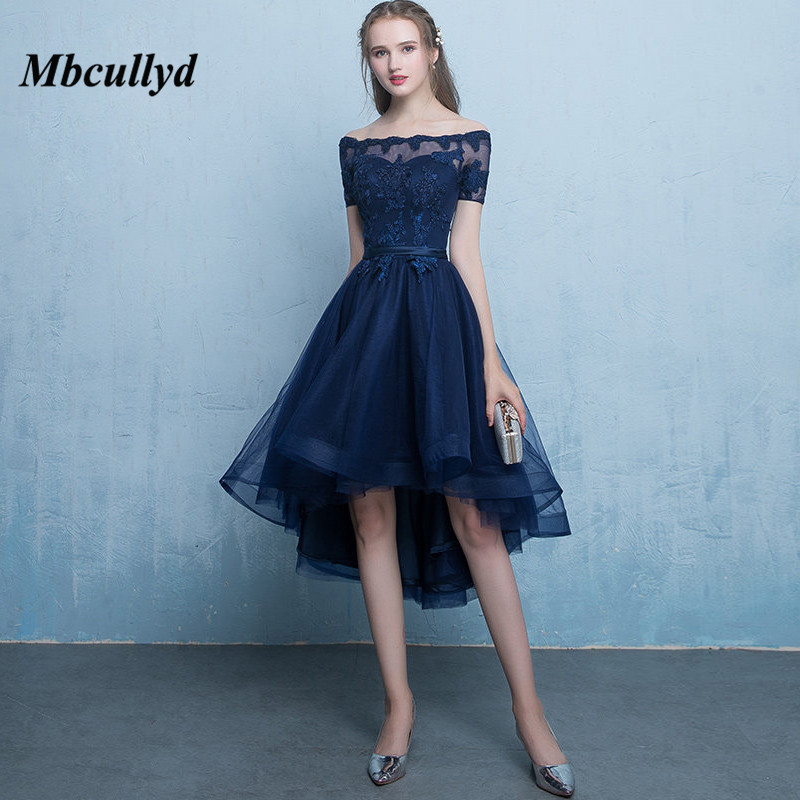 Mbcullyd Sheer Scoop Neck Hi-Low   Bridesmaid     Dresses   2018 Navy Blue   Dress   For Wedding Party For Woman Wedding Guest   Dress
