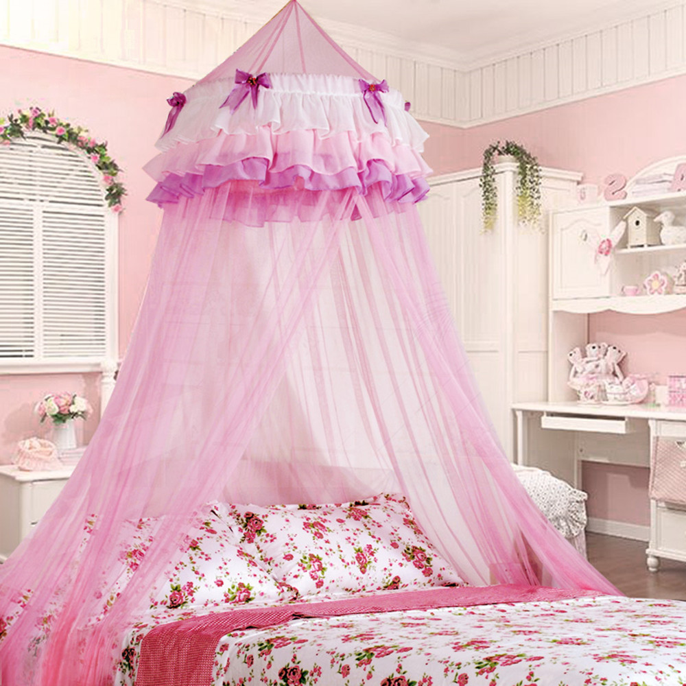 2019 Brand  Summer  Net Children Pink Palace Mosquito Net Elegant Lace Dome Circular Canopy House Children Bed Bedding Net
