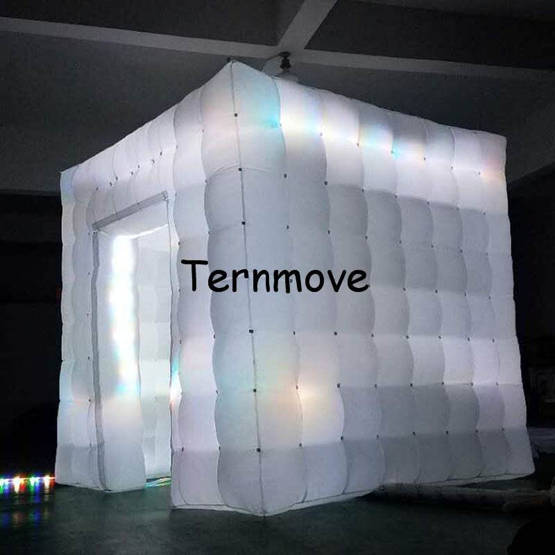 LED light photo booth,inflatable cube tent with led lights Mobile Square Show Display Cube Tent inflatable party tent attractive advertising inflatable booth white or colorful inflatable cube tent