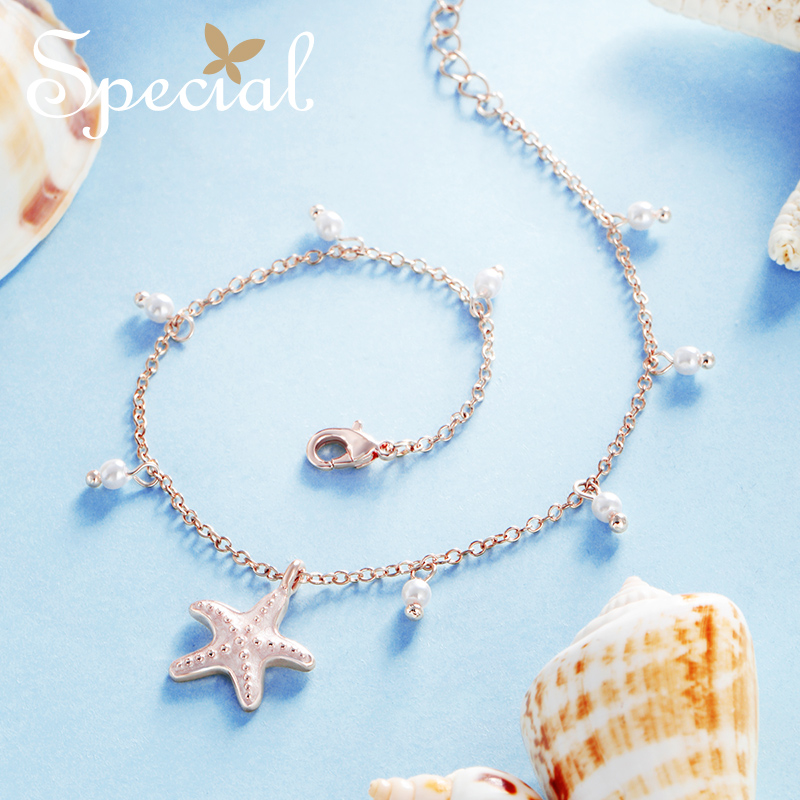 Special European and American style Sakura Pollen Fashion foot chain female set foot around the sea stars of the small love song in Anklets from Jewelry Accessories
