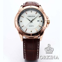 3 Colors Orkina Brand 2016 New Clock Men Date Display Analog Quartz Leather Watch Cool Horloges