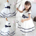 High Quality Baby Girl Dress  Baby Toddler Girls Formal Party Pure White Gown Dress Navy Blue Waistband  Infant Princess Dress