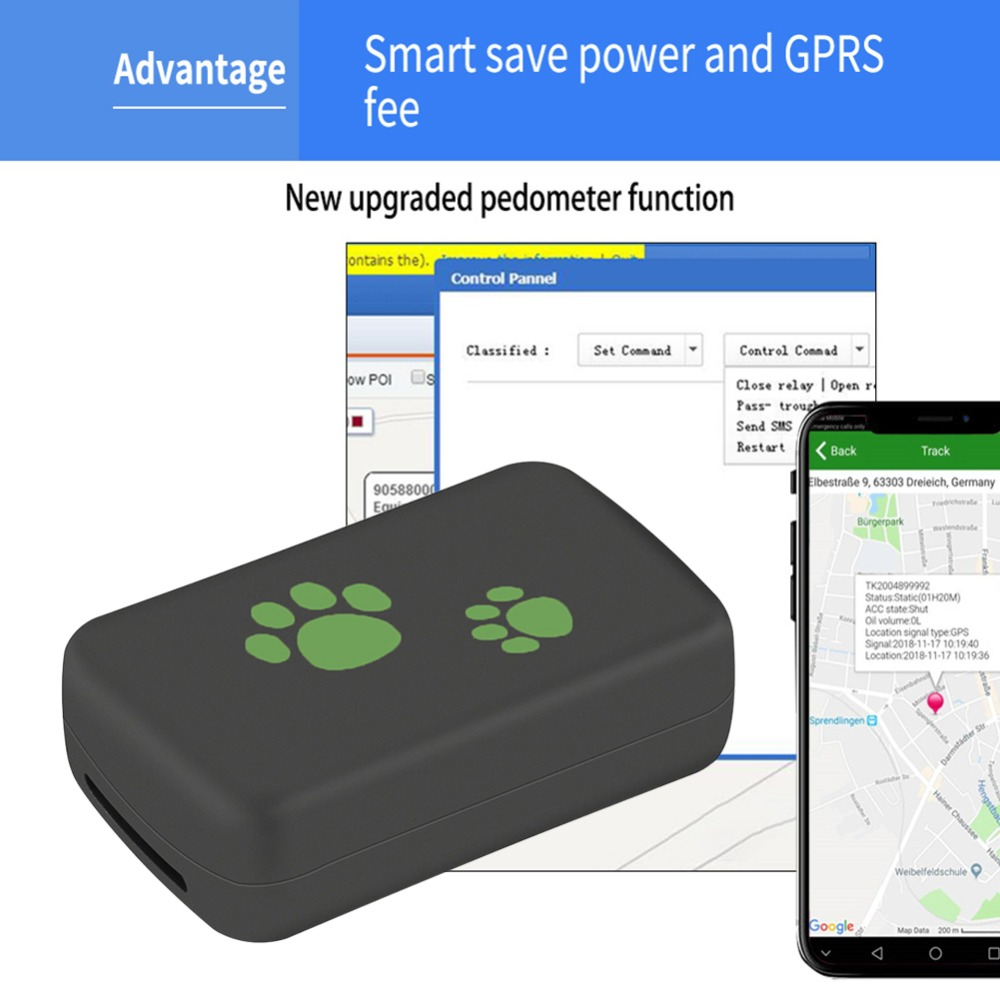TK203 3G GPS Tracker Dog Cat Pet GPS WCDM Locator Real Time Tracking Device Anti lost