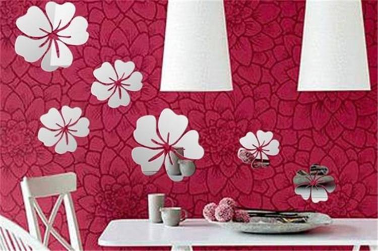 nuevo estilo d de pared de acrlico de la flor en forma de espejos pegatinas creativo