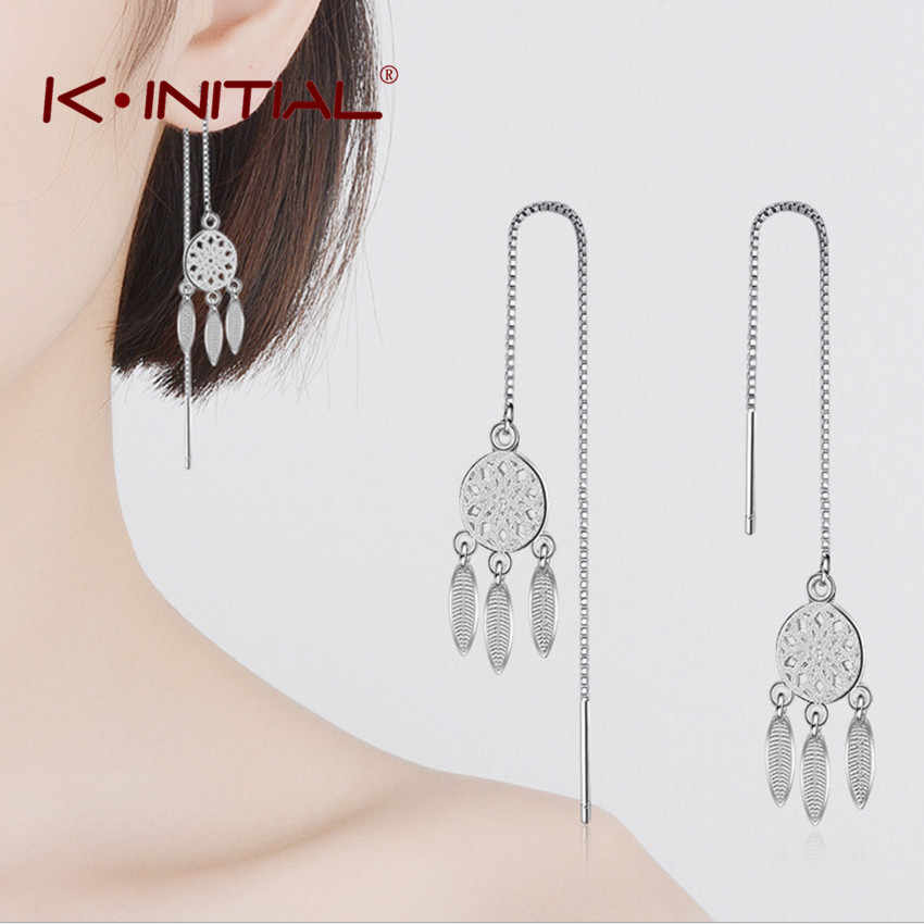 Kinitial 2018 New Silver Plated Dream Catcher Drop Earrings for Women Fashion Chain Tassel Dangle Statement Earring Jewelry