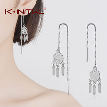 Kinitial 2018 New Silver Plated Dream Catcher Drop Earrings for Women Fashion Chain Tassel Dangle Statement Earring Jewelry(China)