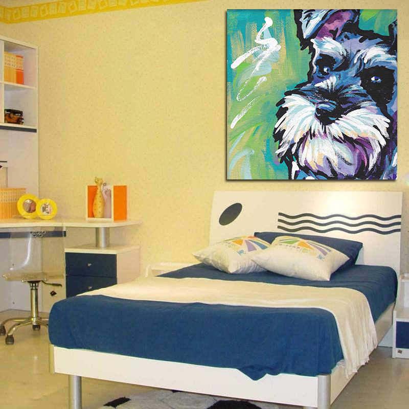 Oil Painting Modern Abstract Schnauzer Dog Watercolor Unframed Huge ...