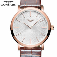 Mens Watches GUANQIN Fashion Casual Ultra Thin Quartz Watch Simple Men Leather Wristwatch Relogio Masculino