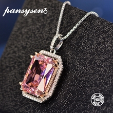 PANSYSEN 925 Silver Womens Pendant Necklaces 12x16MM Natural Pink Spinel Gemstone Necklace Top Brand Fine Jewelry Wedding Gift