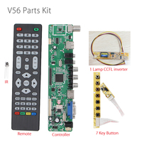 V56 Universal LCD LED TV Controller Driver Board PC/VGA/HDMI/USB Interface+7 key Button+ 1 lamp inverter Instead V29 V59