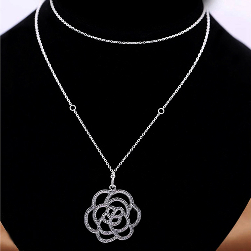 925 Sterling Silver Pendant Necklace 50CM 70CM Rose Flower Pendants & Necklaces Women Sterling Silver Jewelry LN139 trendy letter beads layered necklace for women