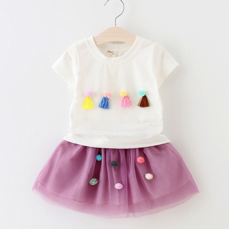 Sodawn Summer 2018 New Sweet Doll Collar Embroidery Shirt + Patchwork Skirt Girl Clothes Suit Brand Children Clohting Top2-6Y