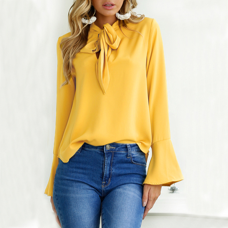 Fashion Flare Long Sleeve Bow Chiffon Ruffle Blouse 2018 Spring Irregular Solid Women Tops Clothing Casual Shirts Black Blouses