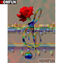 HOMFUN Full Square/Round Drill 5D DIY Diamond Painting Music rose flower 3D Embroidery Cross Stitch Home Decor A21360