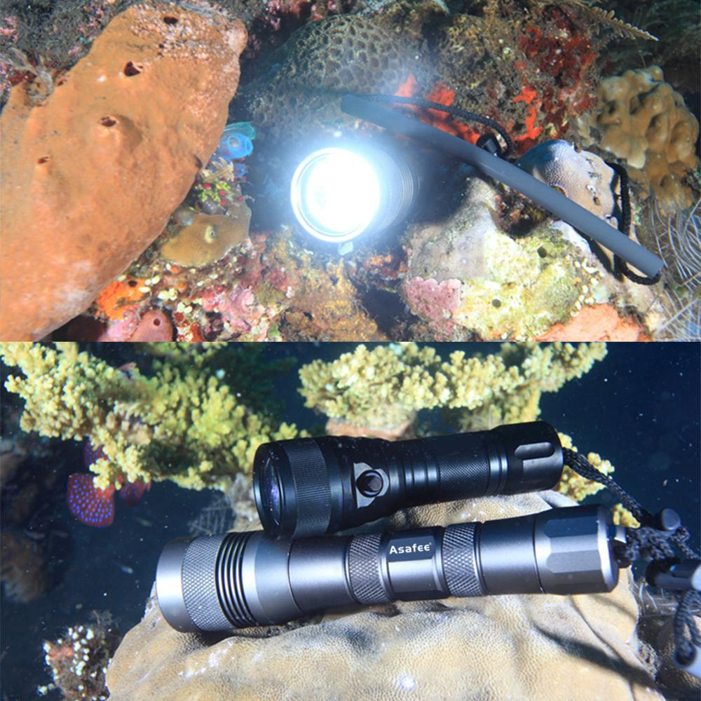 Asafee Underwater Photography Light 120 Degree Beam Angle Professional CREE XM L2 LED Diving Video Light 18650 26650 in Flashlights Torches from Lights Lighting