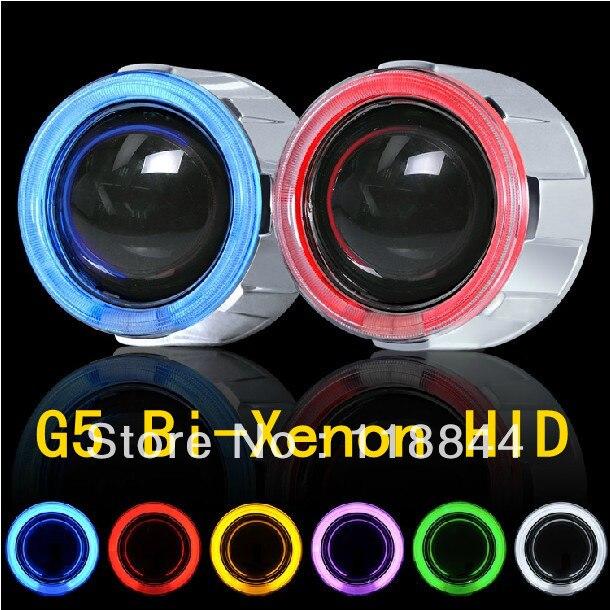 У G5 Би-Ксеноновые HID объектив проектора угол комплект глаза +дьявол глаза+Бесплатная доставка
