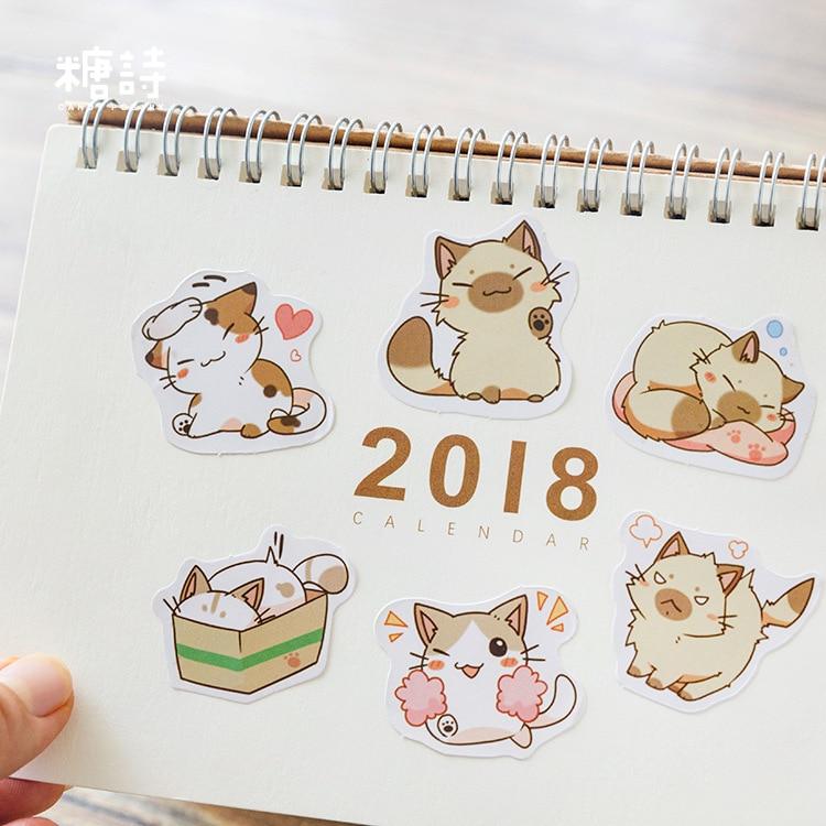 45pcs My Naughty Cats Diy Mini Paper Sticker Diary Album Scrapbooking Decoration Sticker Kawaii Stationery