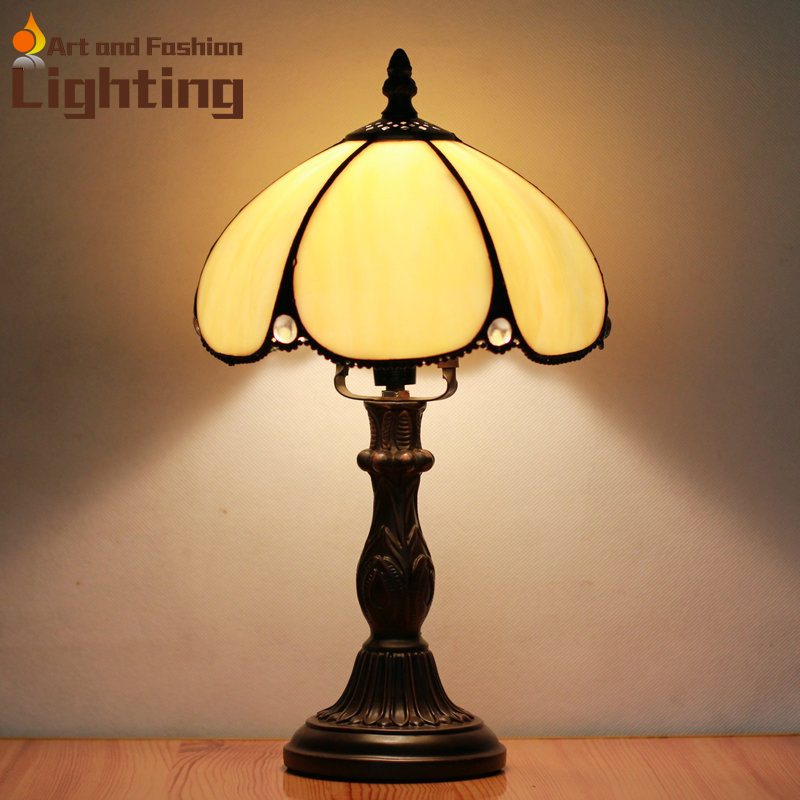 Vintage Tiffany Table Lamp Umbrella Shape Yellow Stained Glass Lampshde  European Bedside Table Lights(China