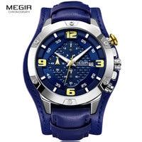 MEGIR Men's Chronograph Quartz Watches 2019 New 3 Bar Waterproof Leather Strap Luminous Army Sports Stopwatch for Man 2099 Blue|Quartz Watches| |  -