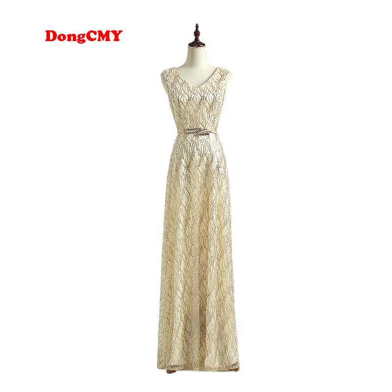 DongCMY nouveauté robe de soirée 2019 double-épaule col en v formelle à lacets longue soirée de gala couleur or robe de bal