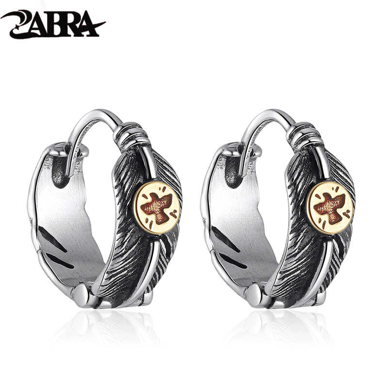 ZABRA 925 Sterling Silver Solid Brass Flying Eagle Feather  Earring Jewelry For Men Women Party Trendy Statement