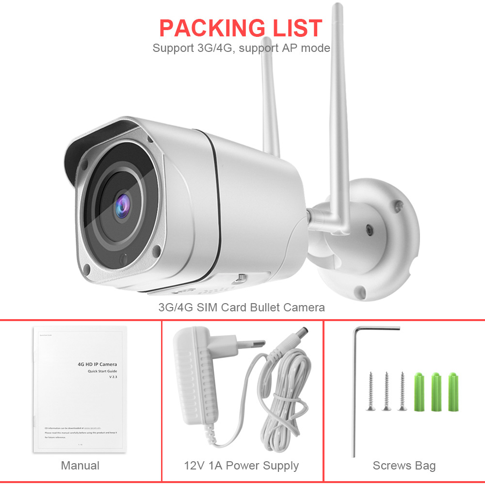 Image 5 - 3G 4G SIM Card Camera HD 1080P 5MP Wireless Outdoor Security Camera Bullet CCTV Audio IR 20M P2P Trigger Sound Alarm APP CamHi-in Surveillance Cameras from Security & Protection