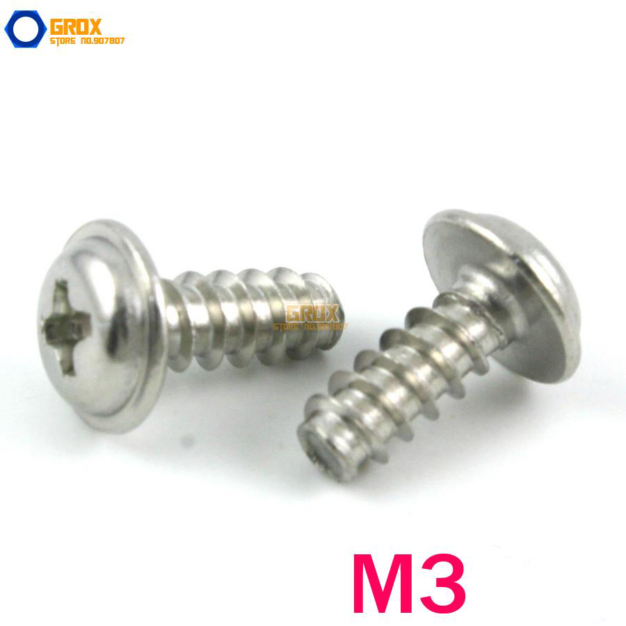 M3 Pan Washer Head Flat End Phillips Self Tapping Screw 20pcs m3 6 m3 x 6mm aluminum anodized hex socket button head screw