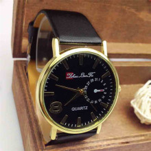 High-profile leisure 2017 Fashion casual men's watches quartz Unisex Casual Fashion Faux Leather Strap Quartz Analog Wrist Watch