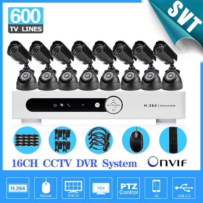 CCTV 16 Channel IR outdoor waterproof video Surveillance Camera security Kit Home cctv HDMI 1080P dvr Recorder System SK-223 4ch cctv system 960h hdmi dvr nvr 4pcs 900tvl ir waterproof outdoor cctv camera home security system surveillance kit 4 channel