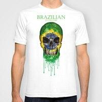 Men Summer Short Sleeves T Shirt Brazil Flag Pattern Skull Casual T Shirt Men Clothing Plus