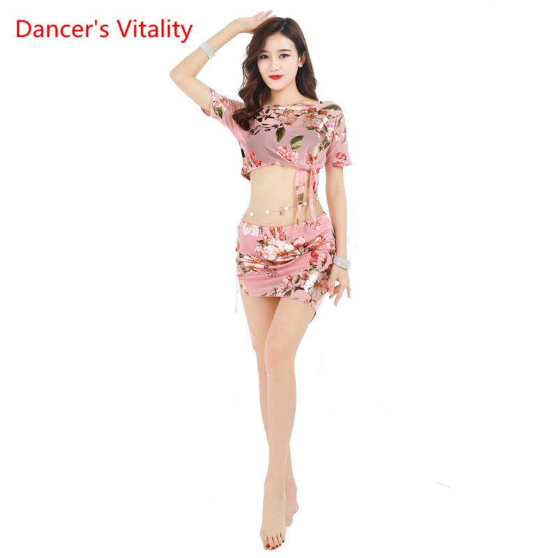 Spring And Summer Belly Dance Costume Sexy Short Sleeves Top+Mesh Short Skirt 2pcs/Suit For Belly Dancing Set