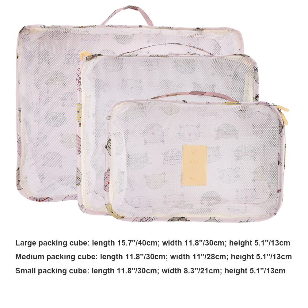 Vbiger 6 in 1 Packing Cubes Bags Cat Luggage Organizer Dacron Travel Storage Pouch for Organizing Underwear and Cosmetics
