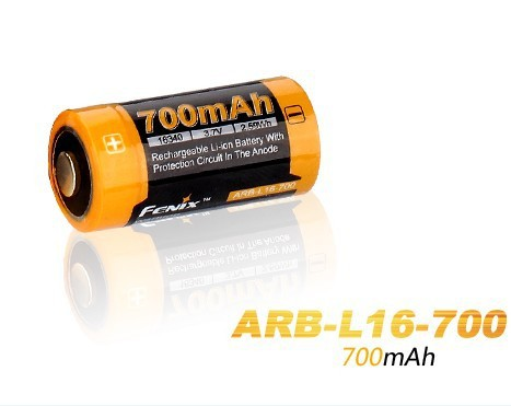 4Pcs/Lot Fenix ARB-L16-700 3.6V 16340 700mAh Rechargeable Li-ion Battery With Protection Circuit