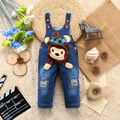 2016 Kids Jeans Winter Children Overalls  Denim  Infant Baby Soft Character Cute Monkey Pattern  Trousers