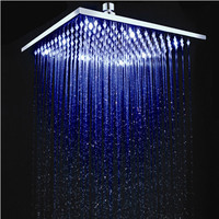 25cm * 25cm Led Shower Head Square Brass 10 inch Rainfall Showerhead Temperature Control 3 Colors Change Free Shipping