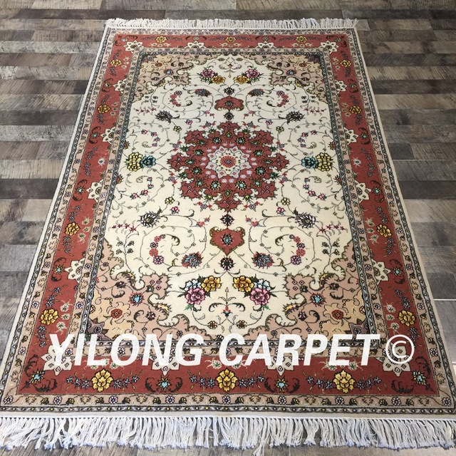 Yilong 4 X6 Oriental Chinese Handmade Durable Rug Red Color Floral